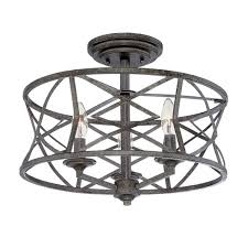 lakewood antique silver 9 inch three light semi flush mount