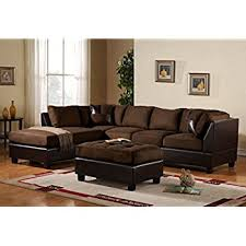 faux leather sectional. 3 Piece Modern Microfiber Faux Leather Sectional Sofa With Ottoman, Color Hazelnut, Beige, R