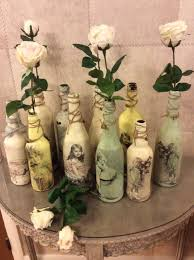Vintage Decoupage Painted recycled transformed bottles, ideal for holding  flowers or candles. Various Designs