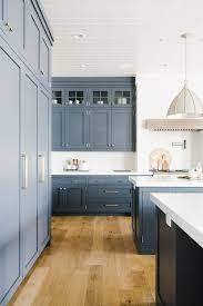 Transitional Kitchen With Blue Gray Cabinets Town Country Living