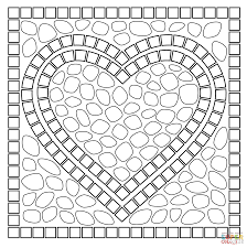 Small Picture Mosaic heart coloring page Free Printable Coloring Pages