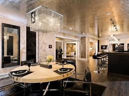 Modern Crystal Chandeliers For Dining Room Dining Rooms Crystal Chandelier Gray Rug Espresso Modern Buffet