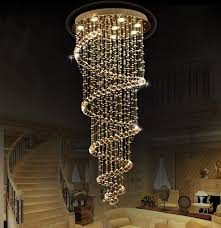 spiral chandelier lead glass crystal large long big stairs pendant lamp modern
