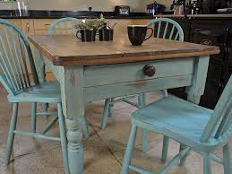 Kitchen Chairs  Rectangle Brown Wooden Table With - Dining room chairs blue