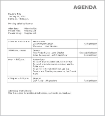 Printable Meeting Agenda Template Word