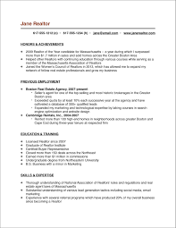 Resume Template For Real Estate Agents Reference Entry Level Real