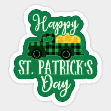 Happy St. Patrick's Day Buffalo Plaid Truck with Gold Coins - Happy St  Patricks Day - Sticker | TeePublic