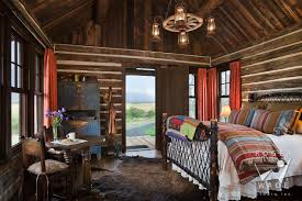 Log cabin interiors designs Rustic Log Log Cabin Photography Restored Cabin Toward Bed Looking Out Door To Ranch View Roger Wade Studio Log Home Photographer Cabin Images Log Home Photos Architecture