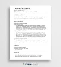 Resumme Templates Free Ats Resume Template Carrie Career Reload