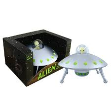 Off The Wall Toys Alien Glow In The Dark Ufo Space Ship And Bendable Action Figure Toy
