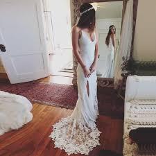 sheath v neck sweep train backless lace wedding dress with both