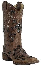 Light Brown Square Boots Corral Womens Distressed Light Brown With Black Sequin