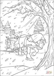 Small Picture Horse and carriage in winter coloring page Free Printable