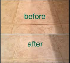 before and after cleaning tile with vinegar and baking soda