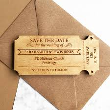 ticket style wooden save the date magnet