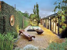 Small Picture garden design using slate with pool outdoor furniture setting