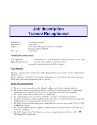 Receptionist Duties Resume Receptionist Job Description Resume Receptionist Job Description 49