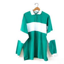 vintage 1980s teal white striped rugby long sleeve polo shirt