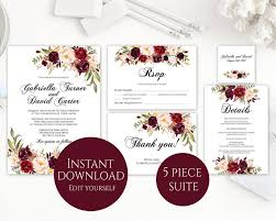 wedding invite template download wedding invitation template invitation suite template marsala