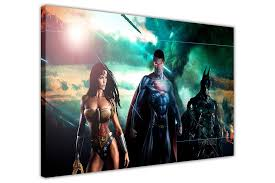 batman superman and wonder woman movie montage on framed canvas wall art prints room deco poster on wonder woman canvas wall art with batman superman and wonder woman movie montage on framed canvas wall