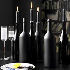 DIY Halloween Wine Bottle Candle Holders |