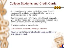 Personal Finance The Appropriate Use Of Credit And The Fundamentals