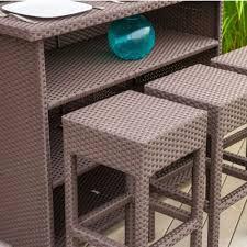 7 piece brown wicker bar patio set w