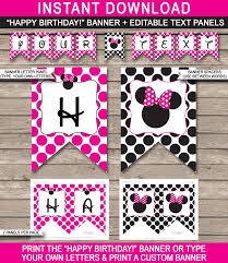 Banner Birthday Minnie Mouse Party Banner Template Birthday Banner Editable Bunting