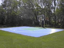 Backyard Basketball Court With Rebounder U0026 Hockey Net  Jr Backyard Tennis Court Cost