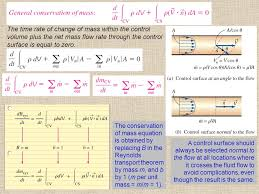 the time rate of change of mass within the control volume plus the net mass flow