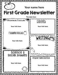 First Grade Weekly Newsletter Template Editable