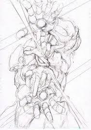 村田雄介書き下ろしによるスパイダーマンとアイアンマンのラフ