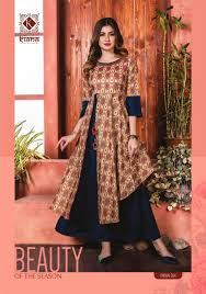 Designer Kurtis Surat Gujarat Kiana Presents Crown Long Designer Kurtis Supplier
