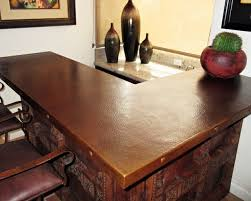 sealed patina on hammered copper countertop southwestern home bar