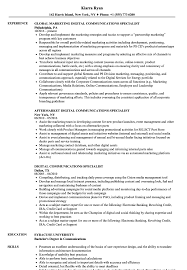 Digital Communications Resume Digital Communications Specialist Resume Samples Velvet Jobs 1