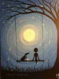 Painted Sky Designs Swings Hand Painted Landscape Wall Art Canvas Picture Handmade Modern Abstract Gril And Pet Swing With Moon Under The Tree Oil Painting