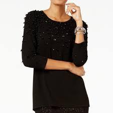 Alfani Womens Embellished Long Sleeves Black Sweater 61 Off Retail