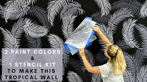 Wall Tree Stencil Designs A Midnight Tropical Accent Wall Using Palm Fronds Stencils