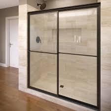basco deluxe 45 in to 47 in w framed oil rubbed bronze sliding shower