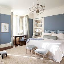 Bedroom. Blue White Bed Sheet Combined With Blue Fabric Stools On The Cream  Rug Combined
