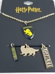 harry potter hufflepuff loyalty interchangeable multi charm pendant necklace set thumbnails above to enlarge