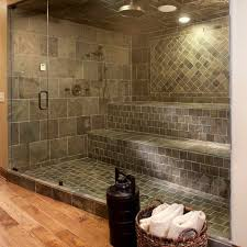 Cozy Design Of The Tile Shower Designs With Grey Wall And Floor Ideas Added  With Glass