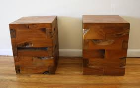 industrial cube end tables solid wood78