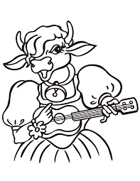 Small Picture Cow Playing Guitar Coloring Page H M Coloring Pages