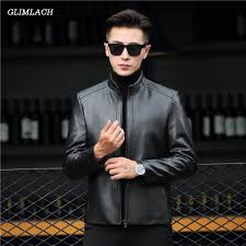 2019 man luxury sheepskin motorcycle genuine leather jacket mens plus size 4xl classic biker jacket black short leather moto coats from lichunn
