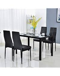 bonnlo modern 5 pieces dining table set gl top dining table and chairs set for 4