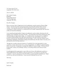 Cover Letter Cover Letter Teacher Position Sample Cover Letter For