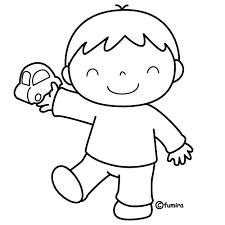 車のおもちゃを持った男の子ぬりえ 子供と動物のイラスト屋さん