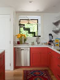 Red Lower Cabinets Brighten Up This Small Kitchen Kitchen Red