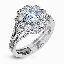 flower design halo engagement ring